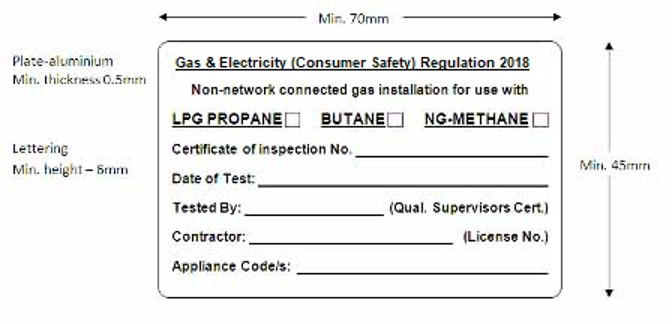 Gasfitter compliance plates form